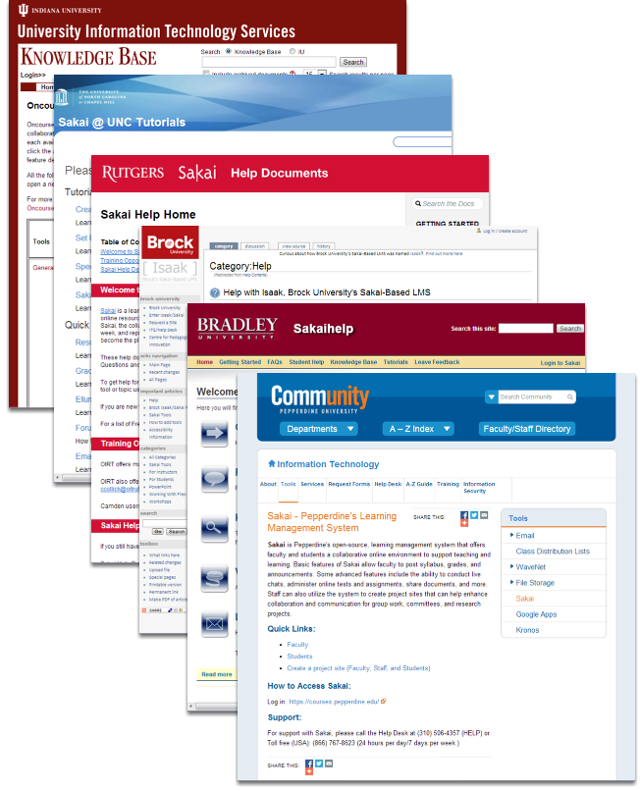 Browse documentation created by other institutions in the Sakai community.