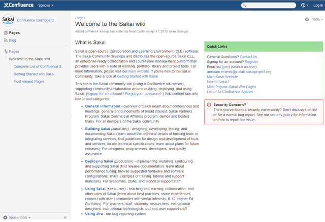 Visit the Sakai Wiki on Confluence.