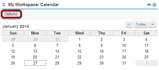 My Workspace: Calendar