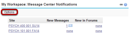 My Workspace: Message Center Notifications