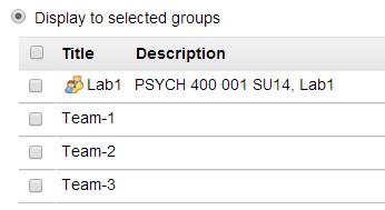 Group selections. (Optional)