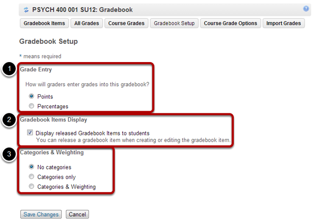 Gradebook setup options.