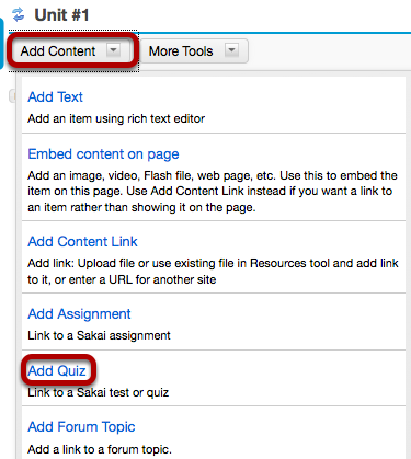 Click Add Content, then Add Quiz.