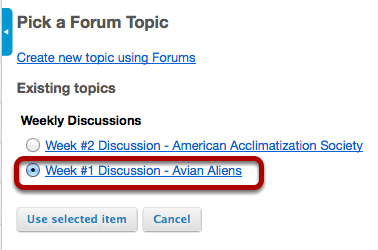 Select a topic from the list of existing topics.