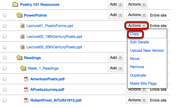 Method 2: Click Actions, then Copy.