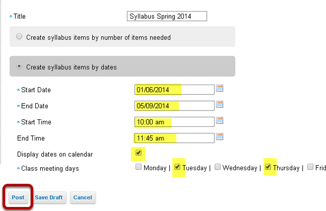 "Select ""Create syllabus items by dates""."