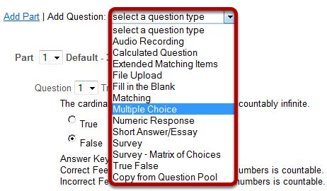 Add a new questions of the type Multiple Choice.