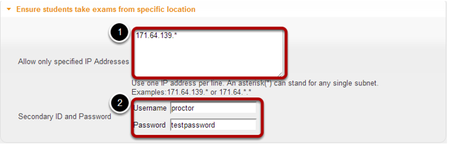 Availability and Submissions: Exam security by location or password.