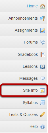 Go to Site Info in the Tool Menu.