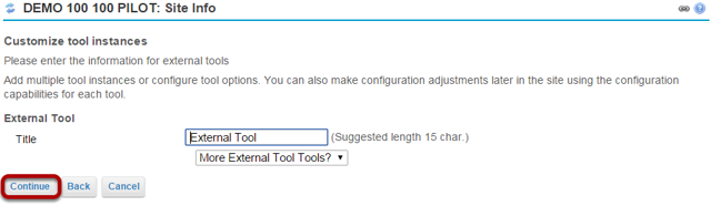 Click Continue again to confirm the tool title.