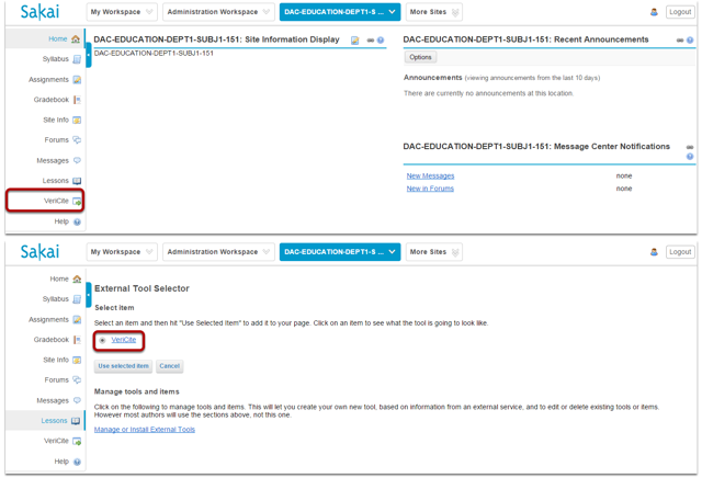 The LTI tool will now appear in the site you specified.