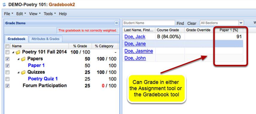 Grading: Go to the Gradebook tool and display the item.