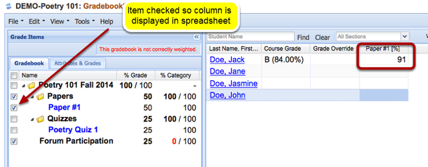 Grading: Example of grade displayed in Gradebook2 tool.
