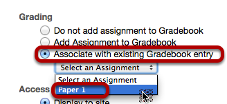 Option 2: Select Associate with existing Gradebook entry.