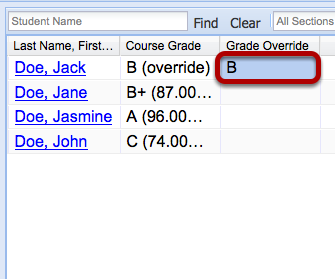 Enter the Override Grade in the Grade override column to the right of the student's name.
