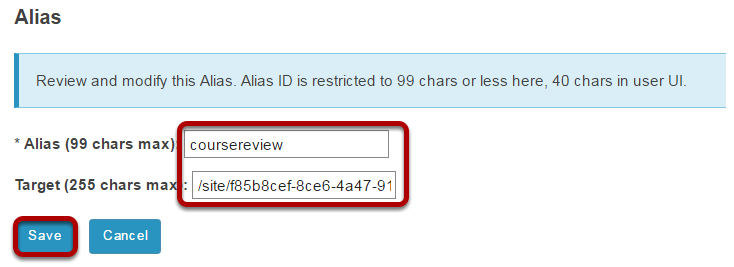Enter the alias and its target.
