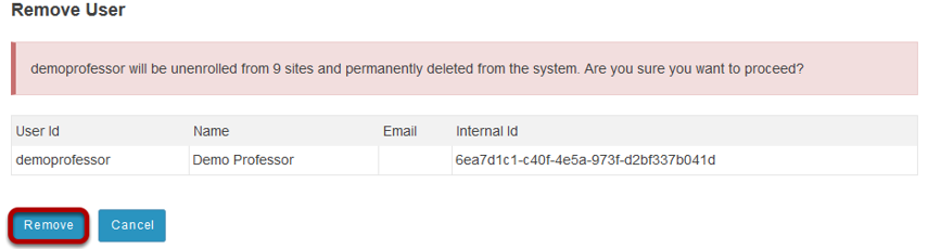 Click Remove to confirm deletion.