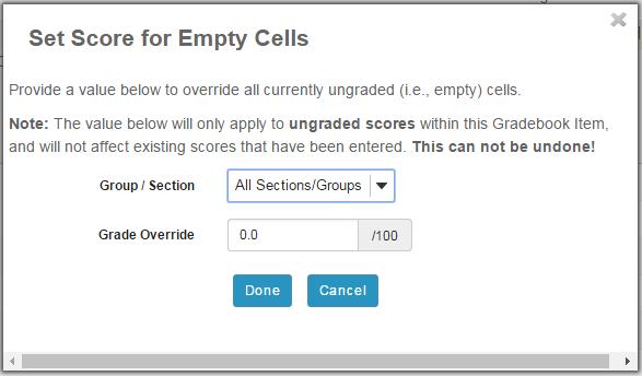 Set Score for Empty Cells.