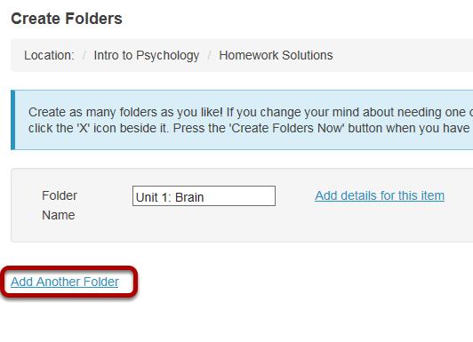 Create multiple subfolders. (Optional)
