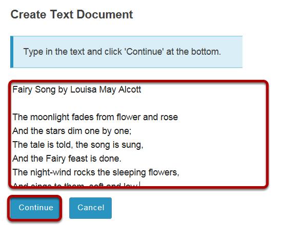 Enter text, then click Continue.