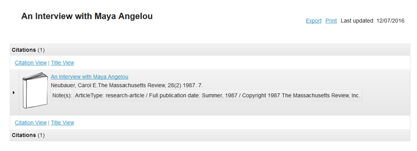 Click on the citation list name.