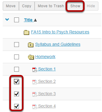 Method 1: Select the file(s) or folder(s), then click Show.