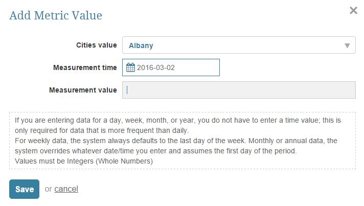 Load Metric Data using manual data entry