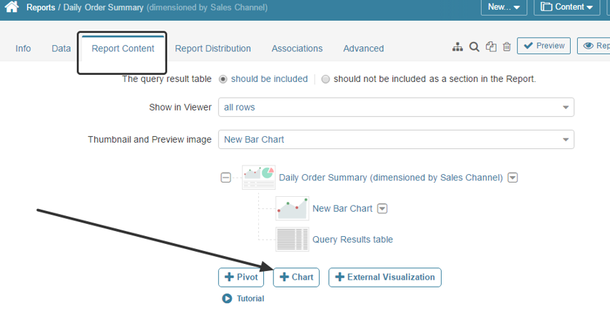 "From the Report Editor, click ""+ Chart"" in the Report Content tab"