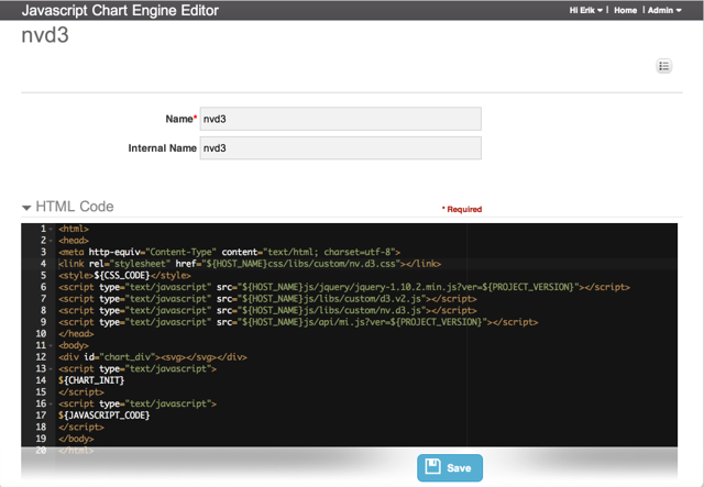 JavaScript Chart Engine Editor - add HTML