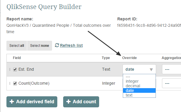 Use the override feature in Query Builder