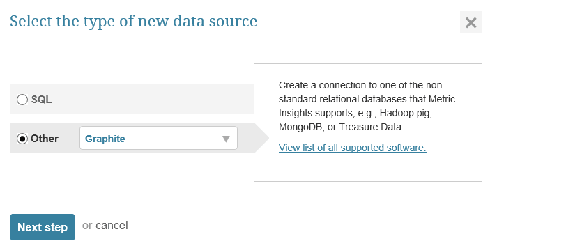 "Select ""Other"" Data Source Type and choose ""Graphite"" from the drop-down"