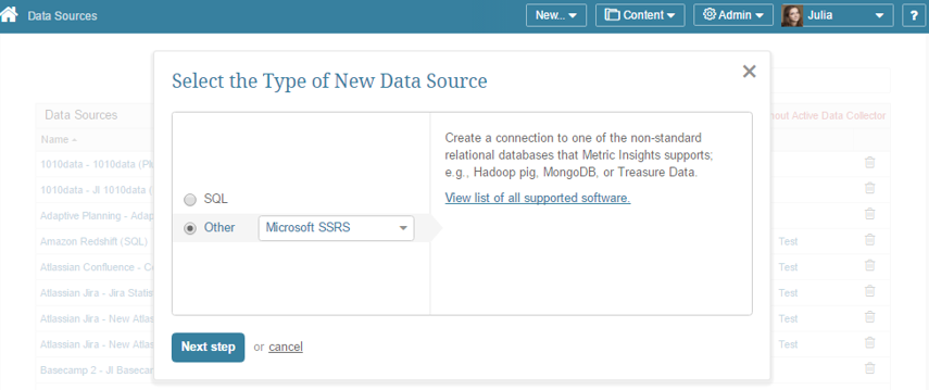 """Select """"Other"""" Data Source Type and choose """"Microsoft SSRS"""" from the drop-down list"""