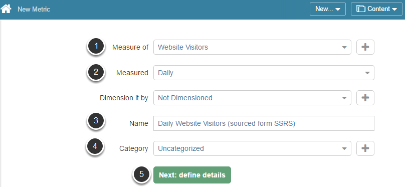 Access New > Metric