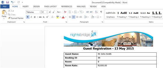 If you would like to email it directly to the guest, click on File.