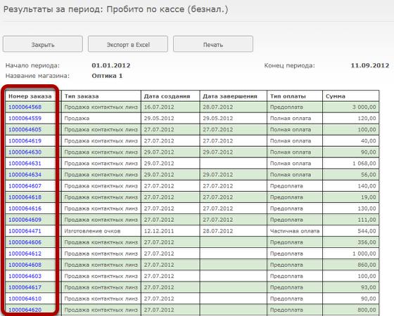 Детализация по платежам. По каждому заказу можно просмотреть полную информацию.