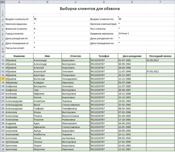 Список клиентов для обзвона будет выгружен в Excel-файл