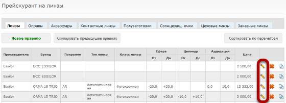 Чтобы изменить правило прейскуранта, нажмите на иконку редактирования справа в соответствующей строке таблицы