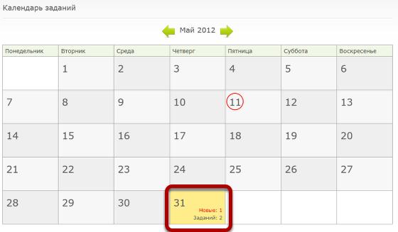 Также, в календаре заданий этого пользователя появится уведомление о новом задании