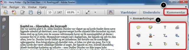 Åbn en opgave i Adobe Reader
