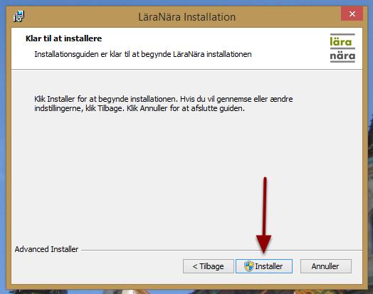 "Tryk på ""Installer"""