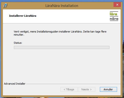Nu installeres programmet