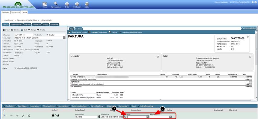 Konterings linien åbner og du kan påføre ENTEN alias eller konto.