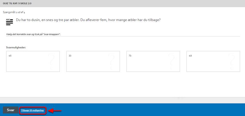 Du kan nu svare på din egen quiz