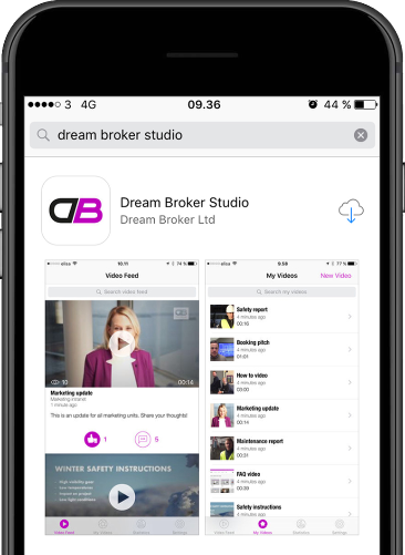 "Download nu appen ""Dream Broker Studio"" på din smartphone"