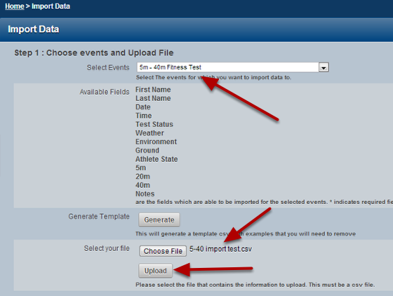 Follow the normal import steps of selecting the Event of Profile Form and selecting a csv. file to upload
