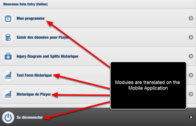 These Language settings now appear for the Modules on the Mobile application