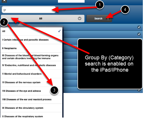 """Database """"Group By"""" searches are now working on the iPad/iPhone application"""