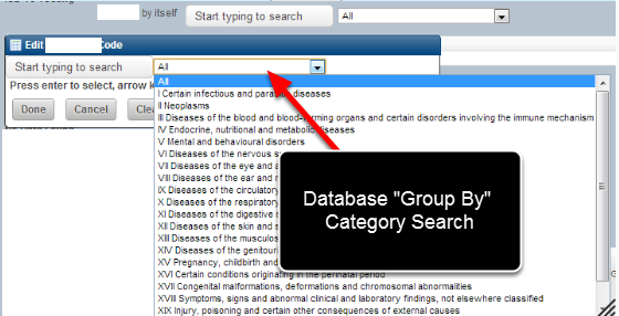 """Databases can have fields set up as """"Group By"""" to limit the search for Database fields when entering in new data."""