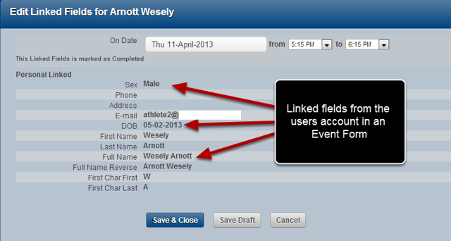 The Image here shows an Event form that links to the user account information.