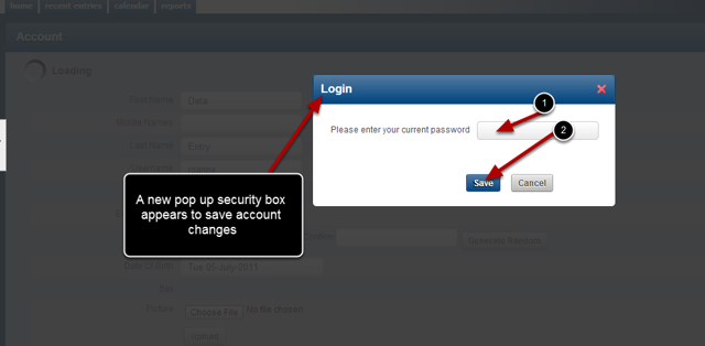 Once you click Save you MUST now enter you password into the pop up security box to save the changes.